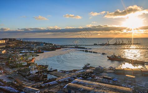 港口美丽日落图片