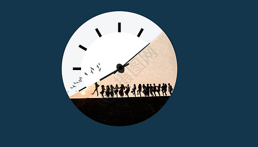 和时钟赛跑的舞蹈人图片