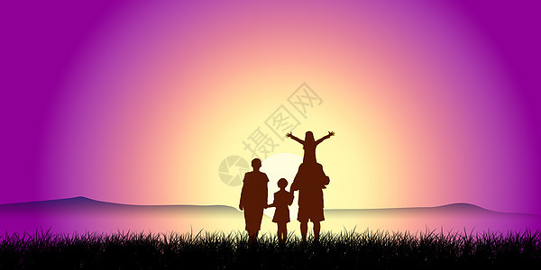 剪影-看日落的一家四口人图片