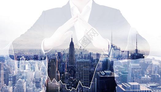 商务人士与城市的双重曝光图片