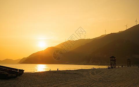 夏季海边的夕阳图片