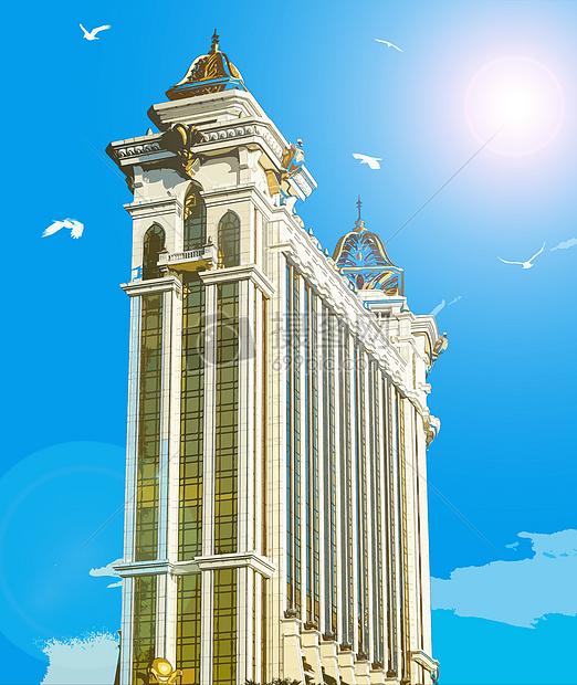 唯美图片 自然风景 转手绘-澳门风情建筑jpg  分享: qq好友 微信朋友