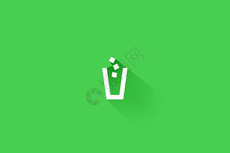 垃圾桶标志展示绿色背景图片