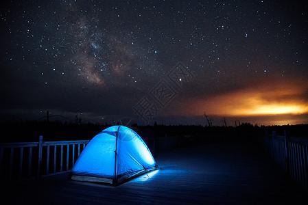 银河下露营图片