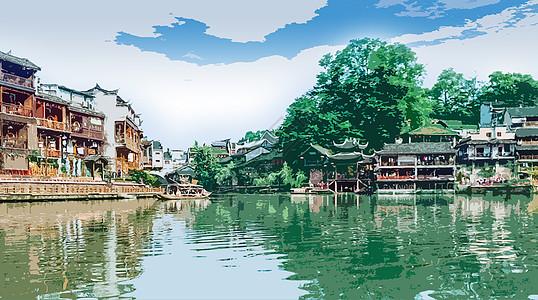 凤凰古城转手绘高清图片