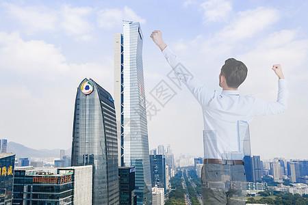 成功男士俯视城市图片