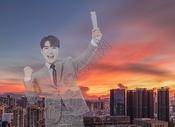 商务人士城市奋斗创意背景图片