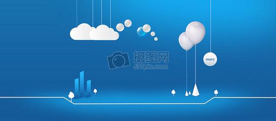 蓝色科技简约背景banner图片