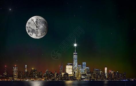 月亮时钟星光城市图片