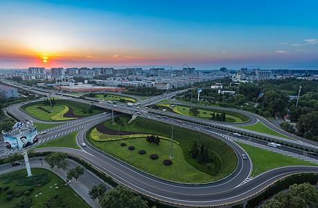 北京郊区立交桥日落风光图片