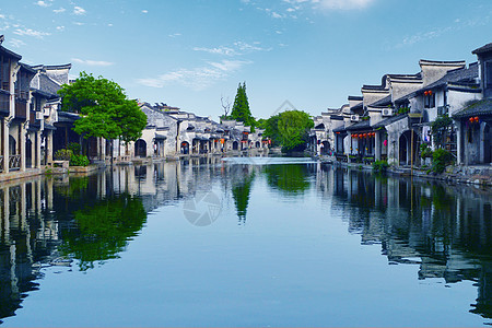 浙江湖州南浔古镇的夜色美景图片