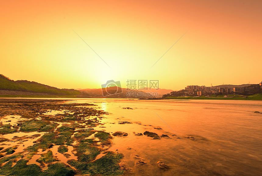 夕阳山水摄影图片免费下载_自然/风景图库大全_编号