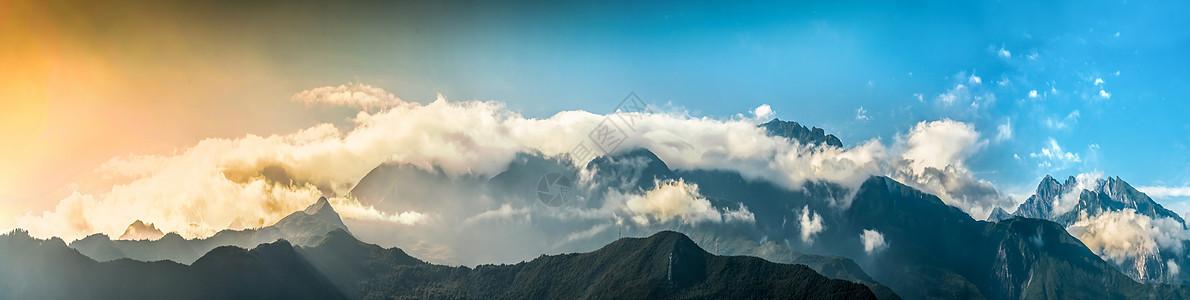 云雾缭绕 全景图图片