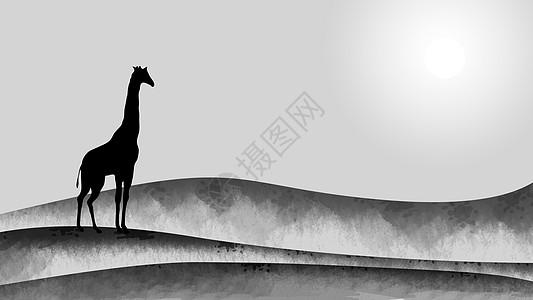 手绘水墨中国风-孤独的长颈鹿图片