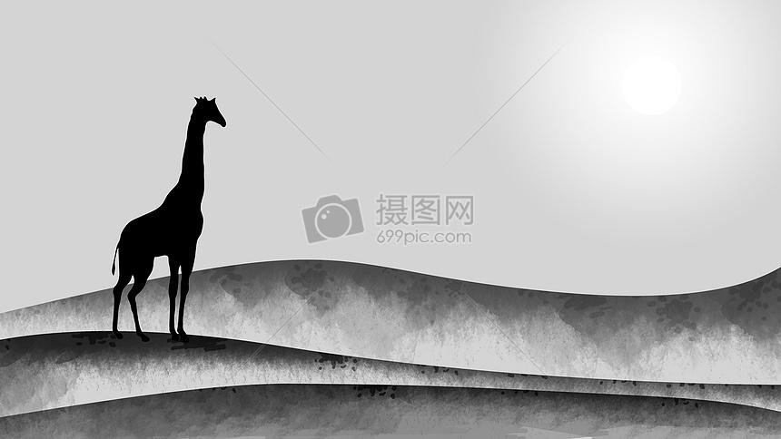 手绘水墨中国风-孤独的长颈鹿