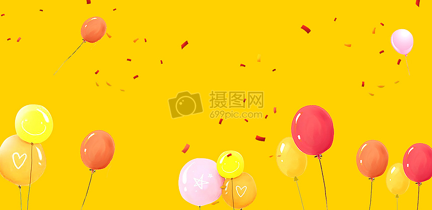 暖色气球背景图片