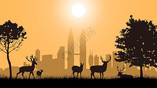 剪影-城市之外草地上的鹿群图片
