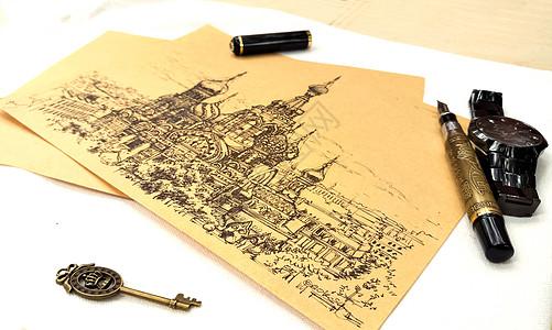 手绘欧洲教堂图片