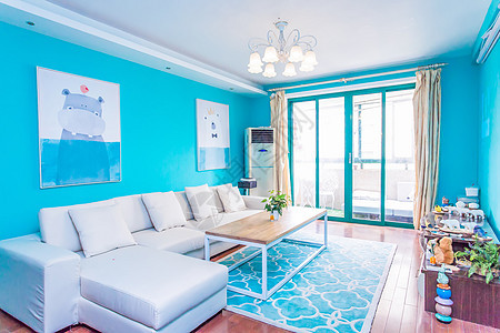 蓝色简约客厅室内设计图片