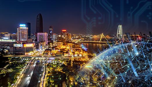 科技城市夜空地球图片