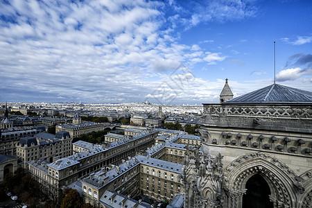 巴黎 圣母院顶拍摄全景图片