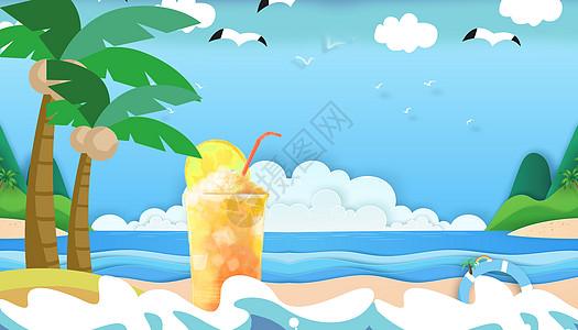 炎热的夏天喝着饮料的太阳图片