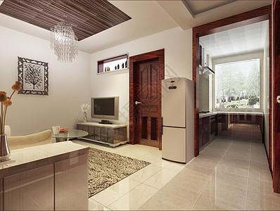 小户型客厅厨房效果图图片