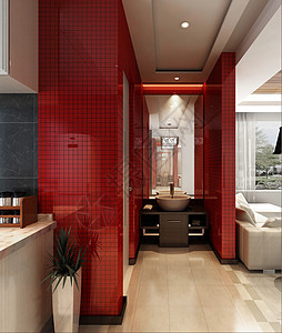 现代红色系卫生间效果图图片