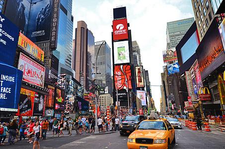 美国纽约时代广场黄色计程车图片