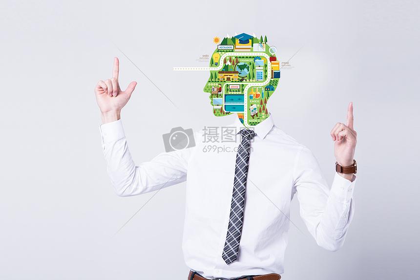 人物头部城市信息图片