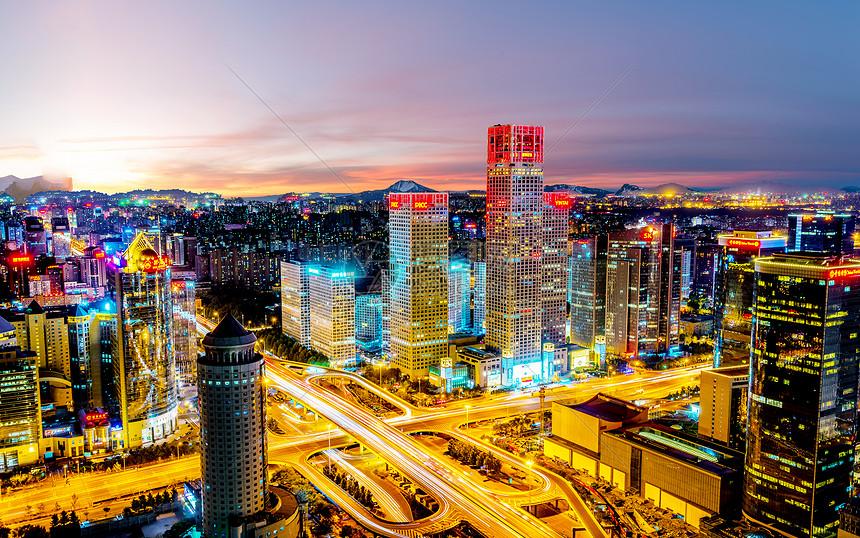 国贸桥北京CBD夜景美色图片