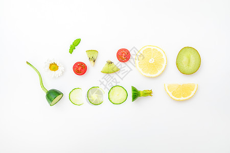 新鲜水果创意平铺摄影图片
