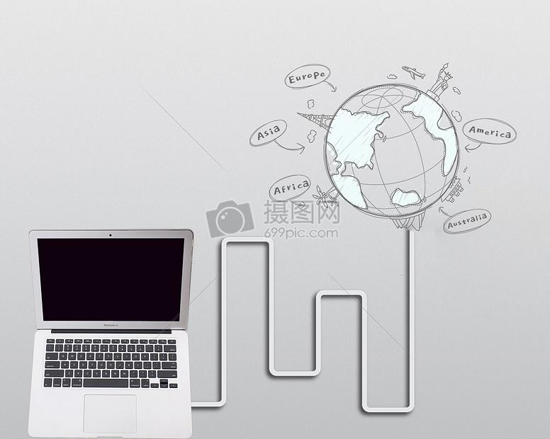 电脑与地球创意设计图片