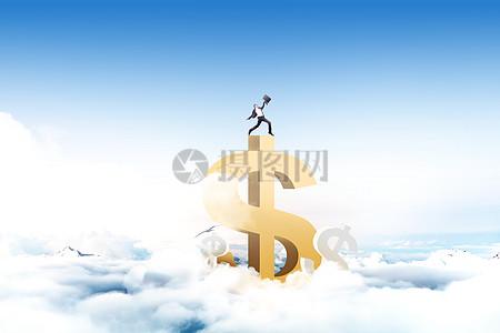 站在美元上的商务人士图片