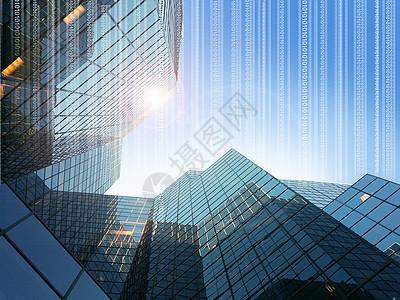 商务大厦和二进制代码图片