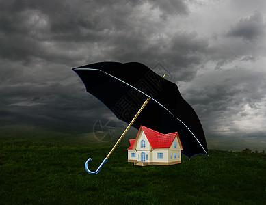 阴天雨伞下的房子图片