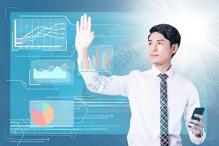 商务人士触摸科技屏幕图片