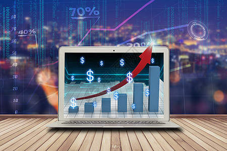 电脑显示商业数据的发展图片
