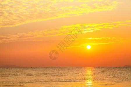 海天相接日出火烧云图片