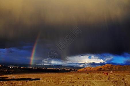 魅力青藏高原古格王国的彩虹图片
