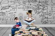 学霸小孩爱学习图片