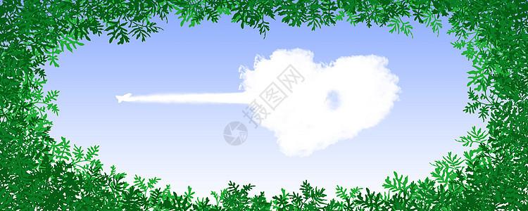 创意心形天空与飞机图片图片