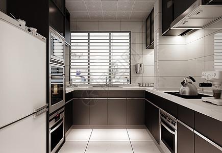 黑白灰厨房效果图图片