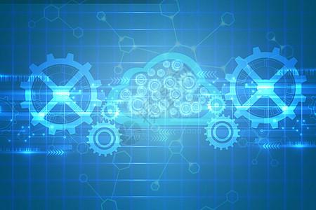 蓝色科技云数据图片图片