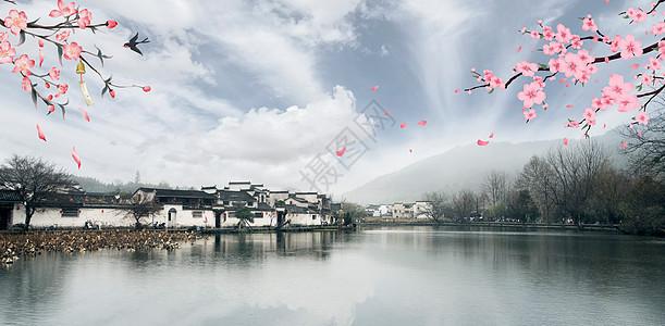 中国风江南小桥流水水墨桃花壁纸图片