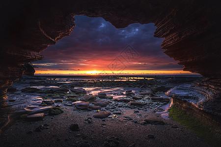 洞穴日出图片