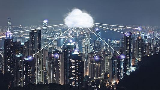 现代化城市与云端网络图片
