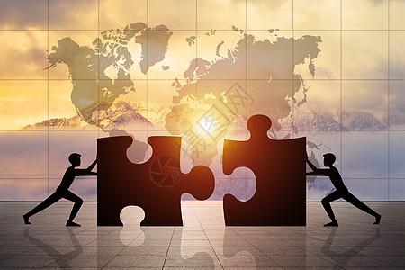 世界商务团队拼图图片