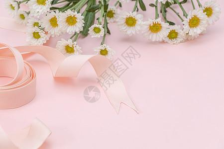 粉色雏菊丝带背景元素留白图片