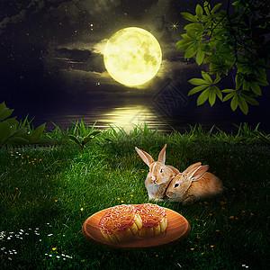 中秋佳节兔子和月饼合成图片